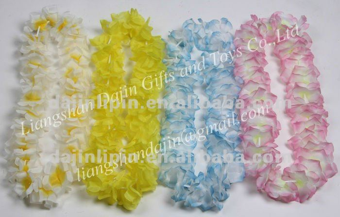 blue and yellow leis