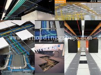 Wire mesh cable tray for office room