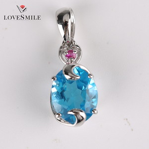 925 Sterling Silver Round shape gem NANO Blue Pendant Jewelry
