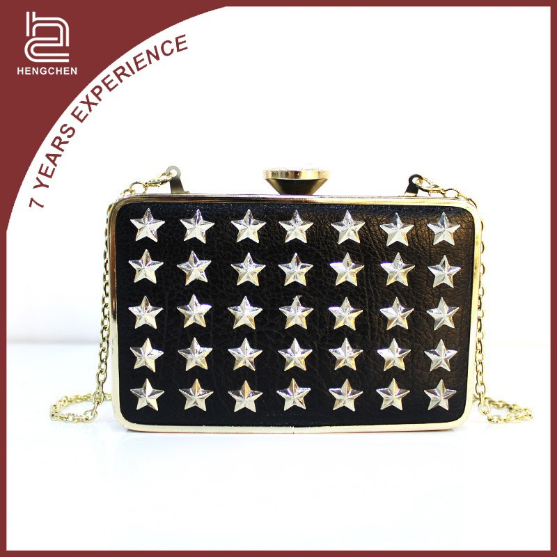 Black New PU Material Fashion PU Leather Evening Bag Clutch Bag