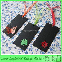 Customized black paper bookmark with ribbon