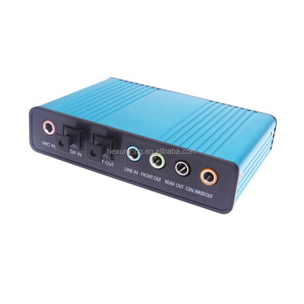 USB 6 Channel External Sound Card 5.1 Surround Adapter Audio S/PDIF for Laptop
