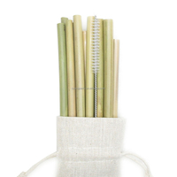 Organic Reusable Hand-Crafted Natural Eco Bamboo Drinking Straws 8'' Set of 2/4/6 with cleaning brush