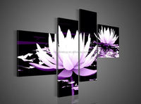 4 Piece Wall Art No Framed Modern Abstract Acrylic Flower Purple Water Lily Oil Painting On Canvas Modern Decoration--SY175