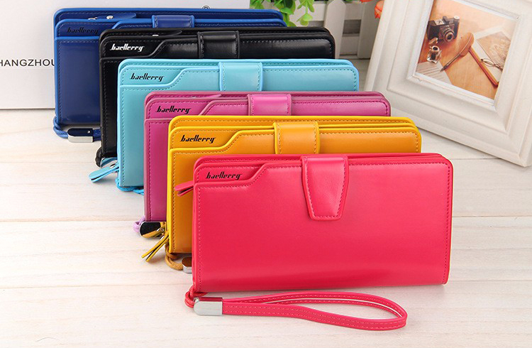 Big size Classical wallets PU leather hand bag money clip wallet for Iphone 6 Plus case