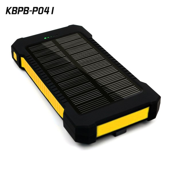 High capacity 10000mah waterproof mobile charger solar double usb power bank with LED light