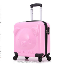 2016 Hot bear pattern ABS+PC travel trolley kids luggage