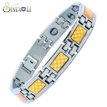 Simple Designed Gold Bangles Titanium Magnetic Therapy Bracelet For Men