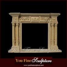 Indoor white marble column fireplace mantels and surrounds