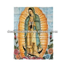 religous mary tile wall plaque ceramic