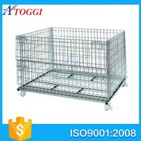 stackable heavy-duty steel mesh foldable crate