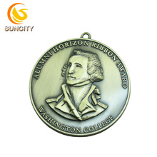 Wholesale Custom Made Antique Plated Alumni Horizon Ribbon Award for Washington College Medals