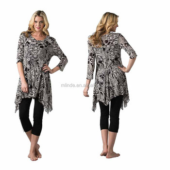 2017 Blouse Women Summer 3/4 Sleeve Asymmetrical Floral Print Tunic Embroidery Top Tunic