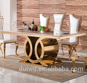 Foshan factory luxury gold stainless steel dining room furniture set