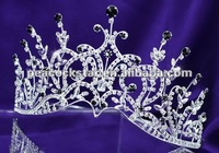 Bridal Wedding Sparkling Pageant Black Crystal Tall Tiara CT1389