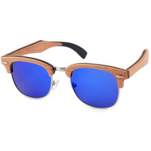 UV400 polarized full wood sunglasses with blue mirror lens