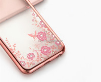 Top quality cell phone case for iphone 6 plus/ 6s plus case with diamond and electro plating border