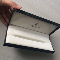 Free Sample And Design Making Luxury Black PU Leather Plastic Pen Box With Silver Logo