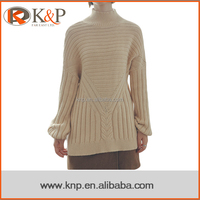 5133A Woolen latest designs sweater long sleeves cable sweater pullover elegant trendy one piece dress for ladies