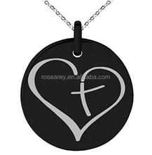 Stainless Steel Cross My Heart Engraved disc pendant necklace for men women couples jewelry