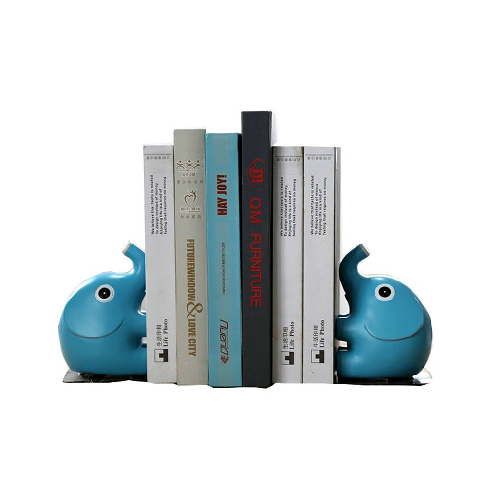Resin Mini Blue Elephant Bookend Holder