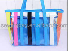 Nice design customized reusable fashion pvc tote zip bag