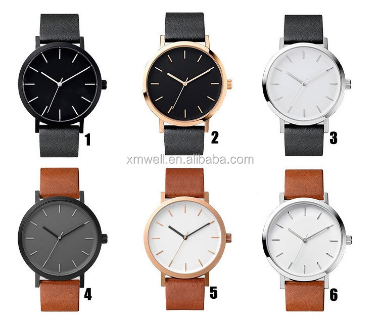 2017 New Luxury Fashion Leather Men Brown Glass Quartz Analog Watch Casual Cool Watch Brand Men Watch