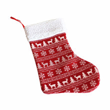 snowflake and deer non-woven small size christmas stocking decor