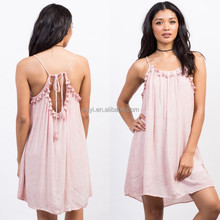 N128 Pregnant women home wear dress A line design wholesale hot selling item in Alibaba OEM pink clolor Tie-Dye Tassel Dress