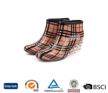 new arrive good design high ankle plaid brown wedge pvc wellies