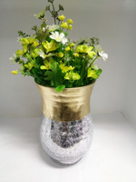 Multipurpose decorative mercury crackled glass vase/ hurricane candle cylinders