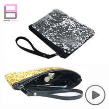 2018 Popular gold glitter bling sequins cosmetic bag
