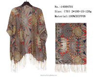 retro style chiffon shawl for woman India printed pashmina indigenous summer beach poncho scarves