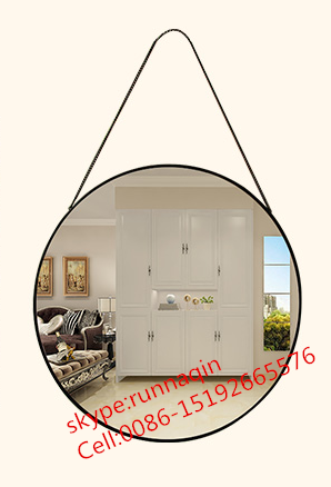 Gallery designer hanging chain metal framed mirror in round for wall decorative aluminium mirror