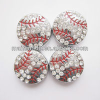 Free shipping 8mm rhinestone baseball slide charm for bracelets (JS-002)