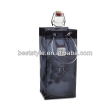 Pipe handle black pvc wine bag plastic wine bottle bags