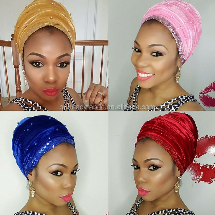 HQT08 Queency New Arrival Sequins Design Beaded Velvet Turban Hat Headtie for African Women