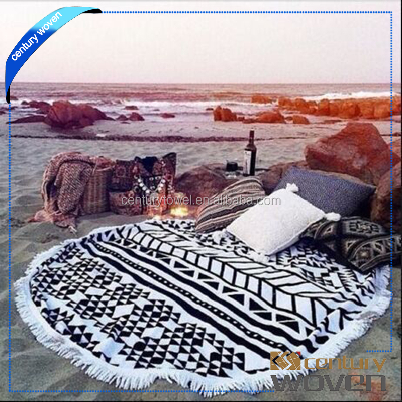 Reactive printing round beach towels circle beach towel for Australia/New Zealand/ Canada markets