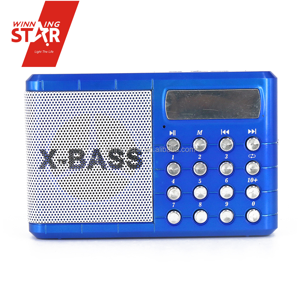 Blue radio car stereo mini pocket digital am/fm radio portable radio with usb sd