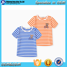 2015 new style most popular cotton boy and girl flat knit stripe t-shirt
