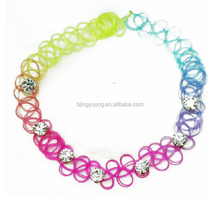 Fashion custom design 90s tattoo choker plastic crystal bead necklace
