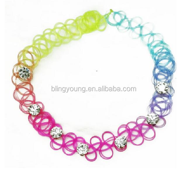 Fashion custom design 90s tattoo choker plastic crystal bead necklace