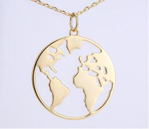 World Map 925 Sterling Silver Pendant Necklace Jewelry