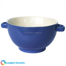 5 inch two-tone custom ceramic soup bowl with double handles