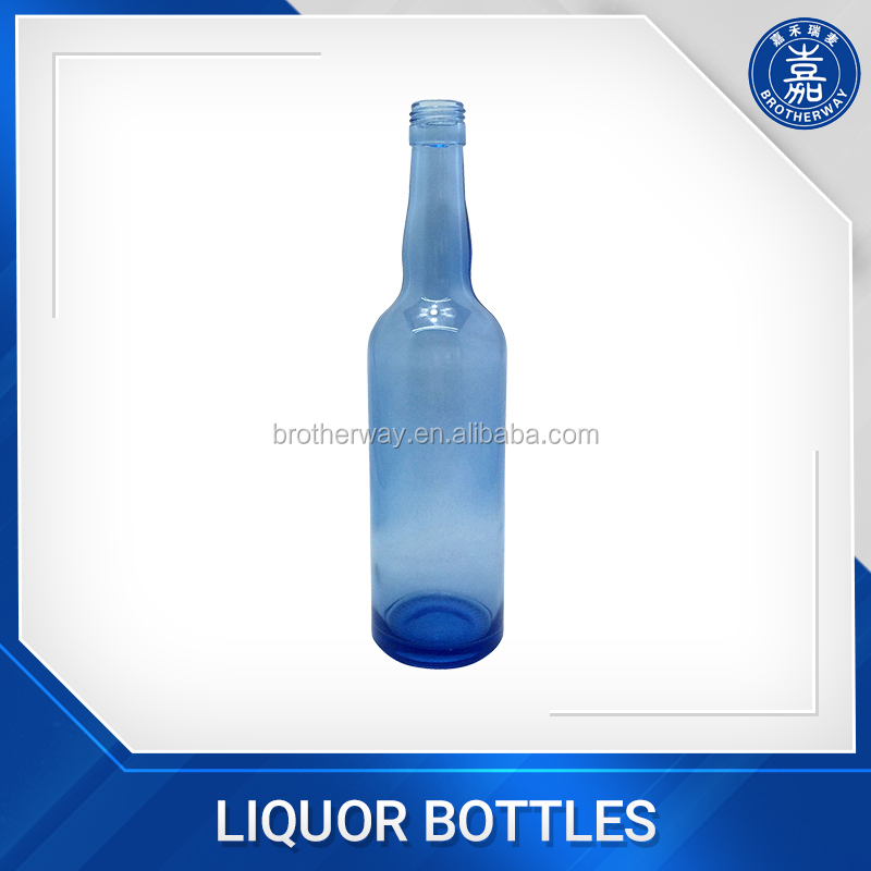 500ml blue color glass beer bottle with screw cap