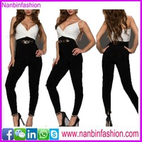 nanbinfashion white top and black chiffon jumpsuit in big stock