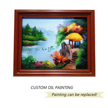 wood color Landscape painting on canvas for decoration