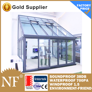 Aluminium prefabricated glass conservatory with skylight for Prefab conservatory