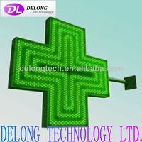 CE RoHS flashing transparent 48*48*2.5cm acrylic green indoor led cross light screens