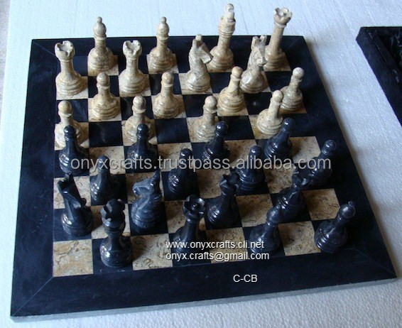 CORAL AND BLACK MARBLE CHESS set in Cheap PRICE
